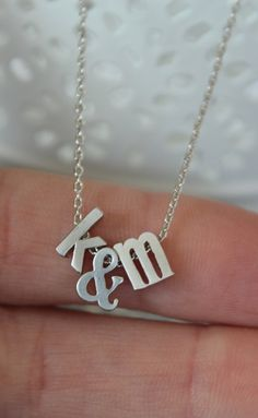 Tiny Silver Ampersand and Initial Necklace...Small by brinandbell, $22.50