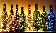 Fairylights in gekleurde glas bottels - love love love