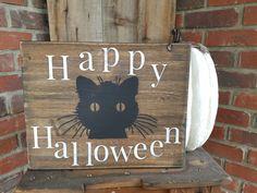 Rustic Cat Happy Halloween Wood Sign. Halloween, halloween decor,  black cat…