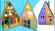 DIY Desk Organizer - Make a Pencil House from Cardboard Box | Craft Idea...