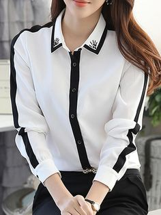 #Fashionmia - #Fashionmia Contrast Trim Beading Chiffon Blouse - AdoreWe.com Blouse Styles, Blouse Designs, Workwear Fashion, Fashion Outfits, Formal Tops, Blouse Dress, Business Attire, Office Outfits, My Outfit