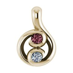 .16ctw Double Bezel Diamond and Pink Tourmaline  Pendant in 18k Yellow Gold