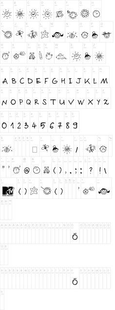 Font de simbols d'objectes i lletres.