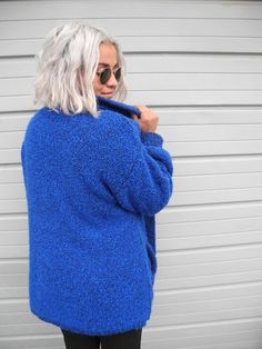 Vintage Blue Cozy Wool Sweater Long Relaxed Fitting by OurKin Getting Cozy, Long Sweaters, Electric Blue, One Size Fits All, Turtle Neck, Pullover, Wool, Stuff To Buy, Shopping