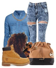 Hey There- Dej Loaf by baybe-maybe on Polyvore featuring polyvore fashion style New Look Timberland MICHAEL Michael Kors Givenchy clothing