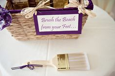 Thought of you Leah:::: Brush the Beach from your feet - great idea for beach weddings!