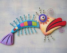 Fish Wall Art, Rainbow Trout Original Found Object Wall Sculpture, Wood Carving, Marine Art, Fish Wall Art, Fish Art, Fish Sculpture, Wall Sculptures, Wood Fish, Fish Crafts, Found Object Art, Art Textile, Art Mural