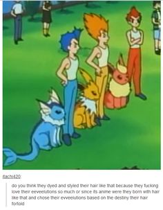 do you think they dyed and styled their hair like that because they fucking love their eeveelutions so much or since its anime were they born with hair like that and chose their evveelutions based on the destiny their hair fortold Pokemon Comics, Pokemon Funny, Pokemon Memes, Pokemon Tumblr, Pokemon Stuff, Pokemon Pictures, Funny Pictures, Digimon, Httyd