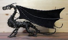 Haywire Dragon with Leather Wings!  Visit www.artgonehaywire.com for unique dragon art and more!