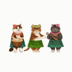 three cats in costume I Love Cats, Crazy Cats, Cute Cats, Studio Ghibli Background, Mr Cat, Here Kitty Kitty, Cat Tattoo, Cute Illustration, Pet Portraits