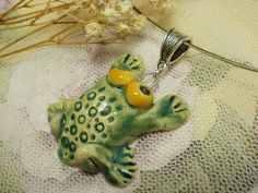 Ceramic Handmade Jewelry   Pendant   Frog by NellanyArt on Etsy