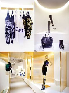 Shirts, shoes, and bags on display at the #Versace flagship store in SoHo #Manhattan