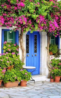 Colorful doorway in Greece