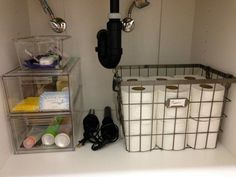 Bathroom Sinks Stores monthly organizing round-up - organizing under the bathroom sink