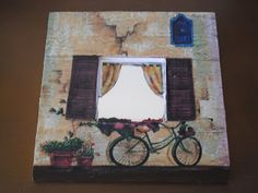 Espejos Malma tuneados | ventanas y bicicletas. Marco Ikea, Decoupage, Door Crafts, Ikea Mirror, Malm, Ideas Para, Mixed Media, Wood, Creative