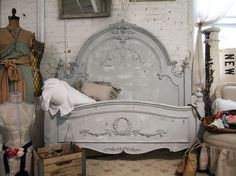 Painted Cottage Chic Shabby Dove Grey Queen Romance Bed