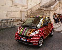 yarn bombed smart car