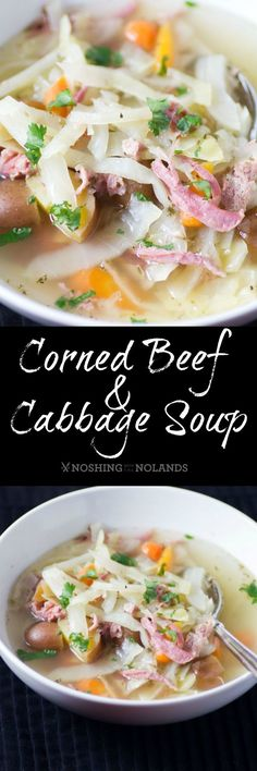 Corned Beef and Cabbage Soup by Noshing With The Nolands is a lightened up version of a traditional dish made with Creamer potatoes! Savor the deliciousness on St. Patrick's Day or any day!