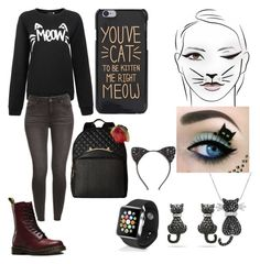"""""""cat meow"""" by sheafleming195 ❤ liked on Polyvore featuring Amanda Rose Collection, Apple, Dr. Martens, Betsey Johnson and Cara"""
