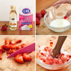 Almond oil + sugar + strawberries = DIY brightening and toning face mask.
