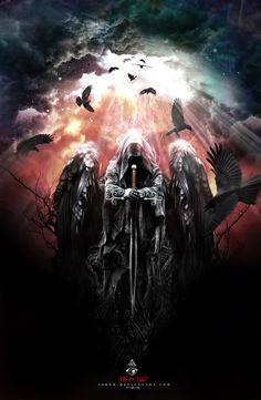 Thanatos by jsonn on DeviantArt Grim Reaper Art, Don't Fear The Reaper, Demon Manga, Demon Art, Gothic Pictures, Dark Pictures, Gothic Fantasy Art, Fantasy Artwork, Archangel Michael Tattoo
