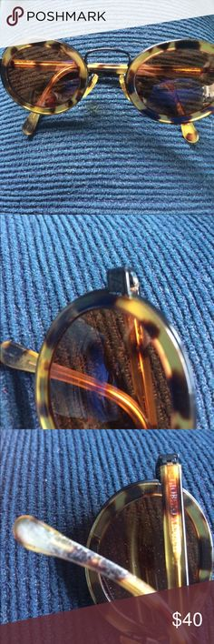 Georgio Armani round tortoise Lenses are in great shape. Wear on the arm of each. Please review all photos so you are aware of condition. No case but will be put in another sunglasses case for shipping. georgio armani Accessories Sunglasses