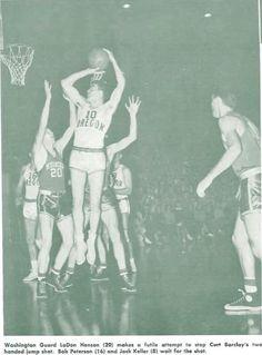 Oregon basketball player Curt Barclay shoots vs. Washington at Mac Court 1951. From the 1951 Oregana (University of Oregon yearbook). www.CampusAttic.com