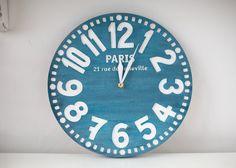 Vintage clock -Paris antique blue- pseudo vintage birch clock hand painted antique blue color blackboard style