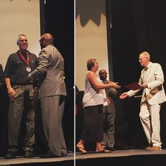 The #NISOD Excellence Award recipients at #CCAC #Boyce Campus Paul Gogniat and Carrie Slagle received their medals from Dr. Bullock at today's All College Day meeting.