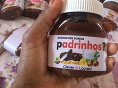 Ideia de lembrancinha para os padrinhos: pote de Nutella personalizado