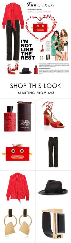 """""""Grab and Go: Fun clutch and fans"""" by suelysara ❤ liked on Polyvore featuring Juliette Has A Gun, Aquazzura, Charlotte Olympia, Frame Denim, Yves Saint Laurent, Ralph Lauren, Marni, Estée Lauder and clutches"""