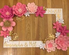 Pink and Gold Selfie Frame - Wedding Selfie Frame - Wedding Decorations - Wedding - Wedding Paper Flowers - Paper Flowers - Selfie Frame