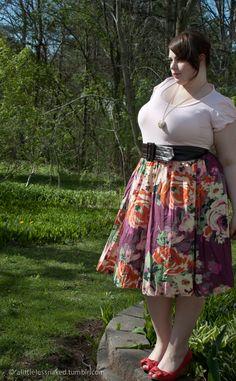 Fat Girl Colors • Outside! Skirt: Old Navy, Top: Meijer, Belt:...
