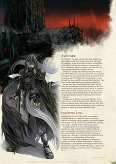 Homebrewing class DnD Homebrew Avenger Class by Fenrir-Hati-Skoll Dungeons And Dragons Classes, Dungeons And Dragons Homebrew, Dnd Characters, Fantasy Characters, Shadar Kai, Science Fiction, Dnd Races, Dnd Classes, Dnd 5e Homebrew