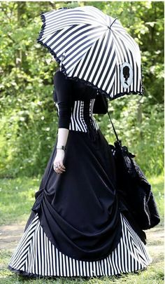 black and white striped victorian gothic dress