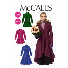 McCalls 6800 ladies coat and jacket pattern. Size ladies and petite easy pattern (bust hip One of the options is a high/low coat. Pattern is uncut. Coat Patterns, Clothing Patterns, Sewing Clothes, Diy Clothes, Mccalls Sewing Patterns, Coat Pattern Sewing, Jacket Pattern, Dressmaking, Diy Fashion