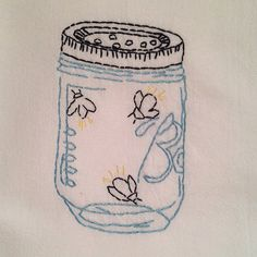 Firefly Jar Hand Embroidered Dish Towel by StrongArtsAndCrafts