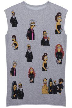 Grey Loose Simpson Print Long Vest