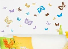 Nursery Room Wall Sticker Decal Kids Baby Home Decor Art Mural Vinyl Gift Yellow Wall Stickers, Butterfly Wall Stickers, Wall Stickers Home Decor, Wall Stickers Murals, Wall Decal Sticker, Wall Murals, Wall Decor, Kitchen Stickers, Butterfly Wallpaper