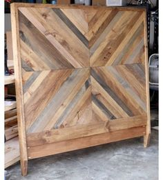 How to build a DIY Reclaimed Wood Chevron West Elm Alexa Bed - Bed Headboard - Ideas of Bed Headboard - How to build a DIY West Elm-inspired Alexa Reclaimed Bed Reclaimed Wood Beds, Reclaimed Wood Projects, Reclaimed Headboard, Diy Headboard Wood, Reclaimed Furniture, King Bed Headboard, Pallet Wood, Rustic Wood Bed Frame, Diy King Bed Frame