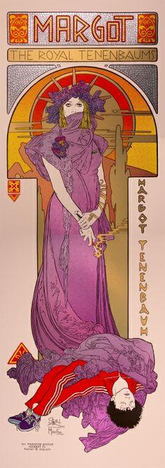 Margot Tennenbaum - 2 pieces poster, sérigraphie réalisée à la main