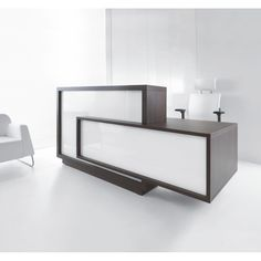 Foro Modern Reception Desk  It features two overlapping rectangles available in four front color variants, white, green, burgundy and orange. The front face, desk top and matt body are in harmonious contrast to each other.
