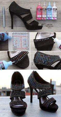 Como customizar sapato com tinta dimensional