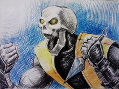 Mortal Kombat sprites of Scorpion, Reptile, Rain, Sub-Zero, Ermac, Smoke, Noob Saibot, Chameleon, Tremor, Liu Kang, Zombie Liu Kang, Raiden, and Shao Khan.