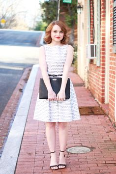 Poor Little It Girl - Paint The Town Symphony Music Note Dress, Gap Black Leather Belt, Lulu*'s Patent Black Ankle Strap Wedges and Gigi New...