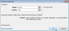 Function Arguments Dialog Box