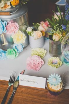 Pastel Paper Flowers, Blue Ostrich Feathers and A Fancy Floral Crown...