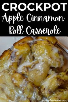 Make an easy apple cinnamon roll casserole in your crockpot with this recipe from Sparkles to Sprinkles! It is the perfect go-to breakfast casserole as it combines cinnamon rolls, apple pie filling, an egg custard, cinnamon, and vanilla to create a gooey breakfast treat that everyone will enjoy. Perfect for weekend breakfasts or brunch, and easy to throw in the slow cooker! Crockpot Apple Pie, Crockpot Cinnamon Rolls, Cinnamon Roll Apple Pie, Cinnamon Roll Casserole, Breakfast Crockpot Recipes, Breakfast Casserole Easy, Cinnamon Apples, Brunch Recipes, Casserole Recipes