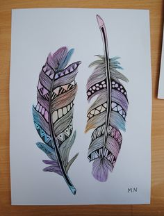 Original Feather Aztec Watercolour
