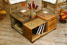 Antique Wood Box Crate Table - Pop Bottle Crates - Coffee Table